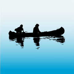 Two silhouette men fishing with boat