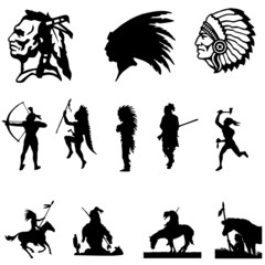 Silhouette of a Native American men