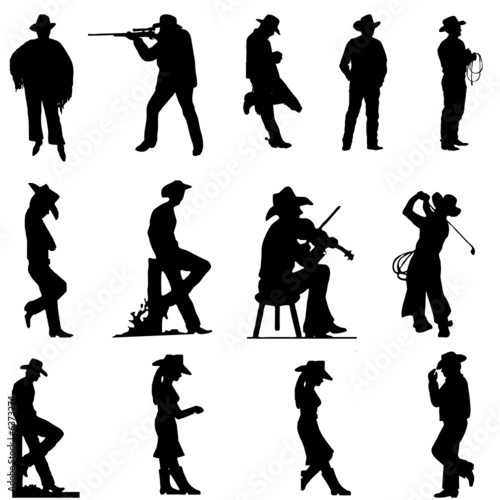 quotcowboy and cowgirl silhouettesquot stock image and royalty