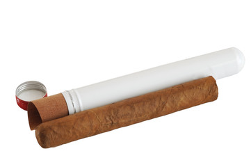 Premium Cuban cigar with its tin container, isolated on white
