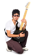 man with a guitar isolated over a white background
