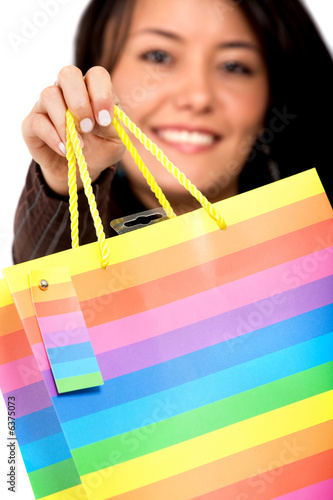 shopping bag with a girl in the background