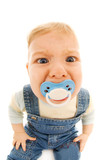 Funny baby sucking a dummy poster