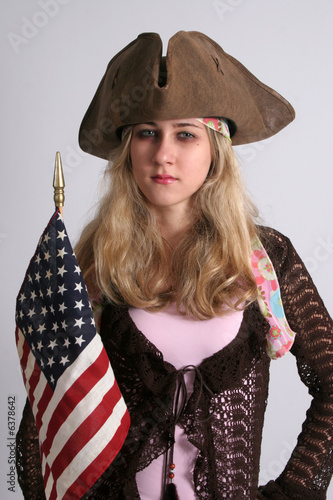 Blond with flag and three cornered hat