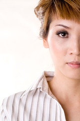 half face of a asian business woman