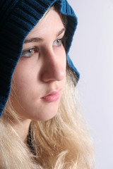 Cute blond in hoodie