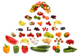 Large pyramid of fruits and vegetables