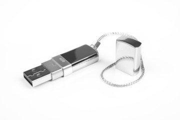chrome jet flash device on white, metal