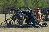 US Civil War reenactors with cannon poster