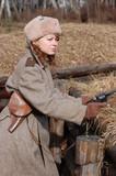 Girl-soldier WWII. Soviet. Reenacting poster