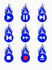 burning player buttons blue
