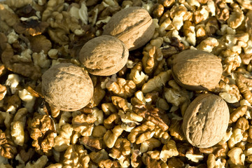 Close-up on wallnuts - healty and nutritious food