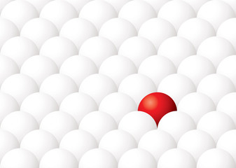 Illustration of being different with one red ball