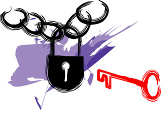 Padlock and key illustration