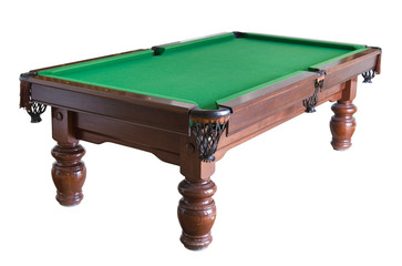 Empty billiard table isolated on white with clipping path