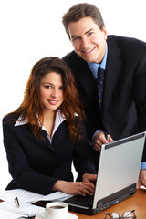 business people working with laptop. Over white background.