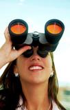 business entrepreneur searching using binoculars poster