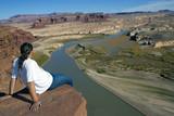 Admiring the vista - Lake Powell area, Utah. poster