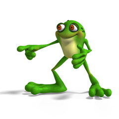 Cartoon Frog with funny Face.contains Clipping Path
