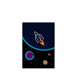 Space ship rocket illustration poster