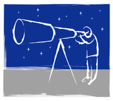 Person with telescope illustration poster