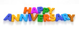 Happy Anniversary in capital letter magnets  poster