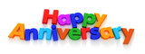 Happy Anniversary in colourful letter magnets  poster