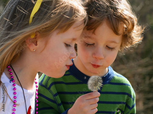 Two Children enjoying nature