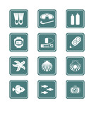scuba diving and underwater life vector icon-set