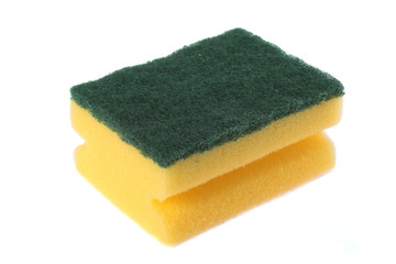 image of a kitchen sponge isolated on white
