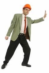 Homme d'affaires repousse les mimites