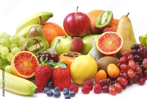 Fototapete Obst - Apfel - Birne - Ananas - Bananen - Pflaumen - Kirschen - Sauerkirschen - Orangen - Poster - Aufkleber