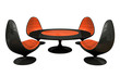 Four black and orange armchairs and table 3D rendering