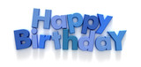 Happy Birthday formed with blue letter magnets  poster