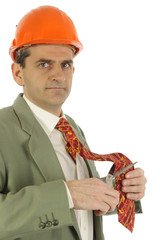 Homme d'affaires coupe avec ciseaux