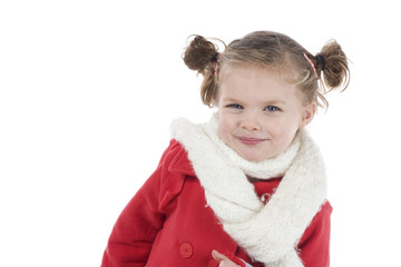 cute little girl in red coat