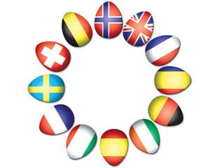 Circle of Easter Eggs representing European flags