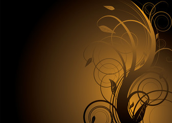 Abstract floral background in gold and black