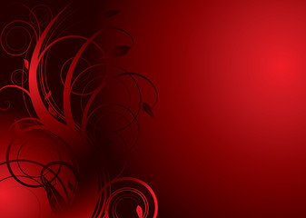 Floral abstract background in red and black