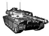 Challenger Main Battle Tank in black & white. poster