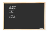 Blackboard with handwritten abc letters and 123  digits poster