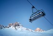 Chairlift and mountain with nice blue sky, shot at dawn
