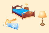 vector illustration of the hotel room objects (bed, lamp, key) poster