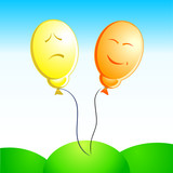 vector illustration of the pair emotion (sad and joy) balloons poster