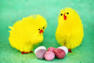 Easter chicks with easter eggs