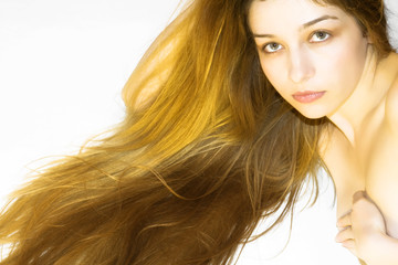 Beautiful girl with long and blond hair