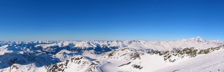 Panoramic view of the French Alps under snow