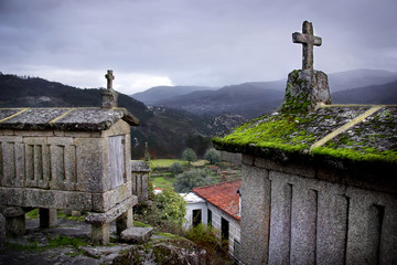 Ancient traditional Portuguese cereal keepers on top of a hill