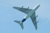 Wide-body airliner flying seen from below poster