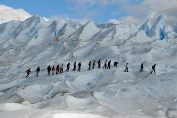 Trekking  on a glacier Perito Moreno, Argentina.